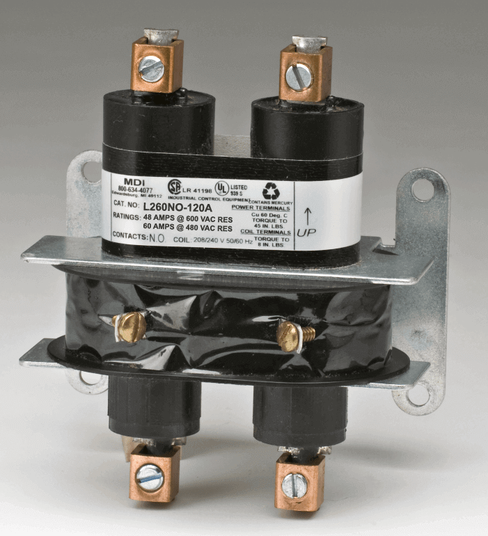 Mercury Relay - Hg Relay - Normally Open - 2 Pole - 60 AMP - 220 VAC Coil -  L SeriesMercury Displacement Industries