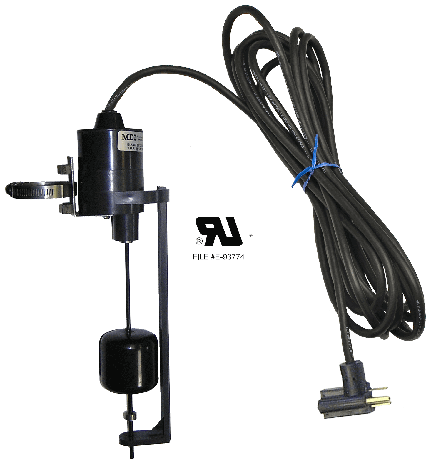 Vertical Float Switch - 20 Foot - 1 HP @ 120 VAC - 1 to 6 Inch Pumping  Range - Normally Open - 120 VAC Piggyback Plug