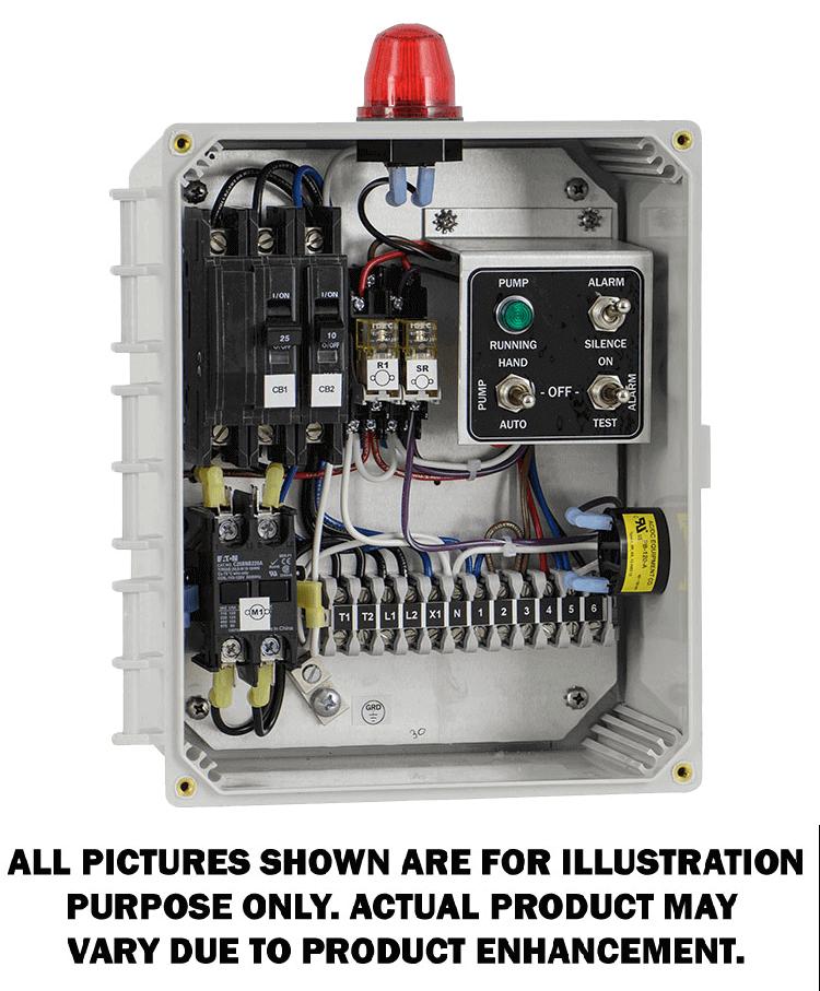 Simplex Control Panel 115 208 230v 1 Phase Circuit Breakers For Main Pump Circuit Definite Purpose Contactor