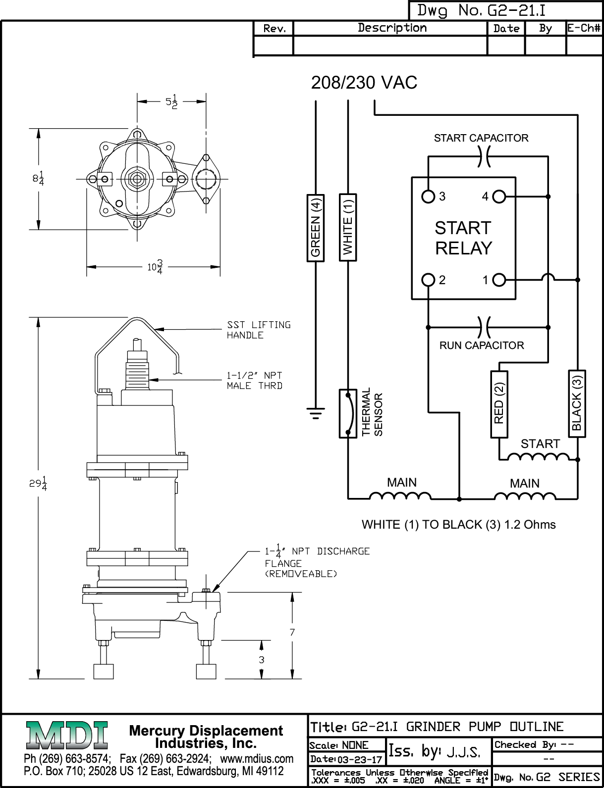 [EQHS_1162]  Grinder Pump - 2HP @ 230V - 68 gpm @ 95 foot head - Internal Start  Components - Heavy Duty Float Included | 208v Pump Wiring Diagram |  | Mercury Displacement Industries