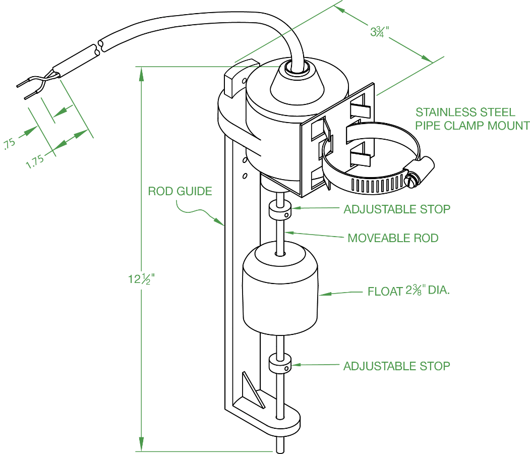 vertical float switch - narrow pumping range - normally open