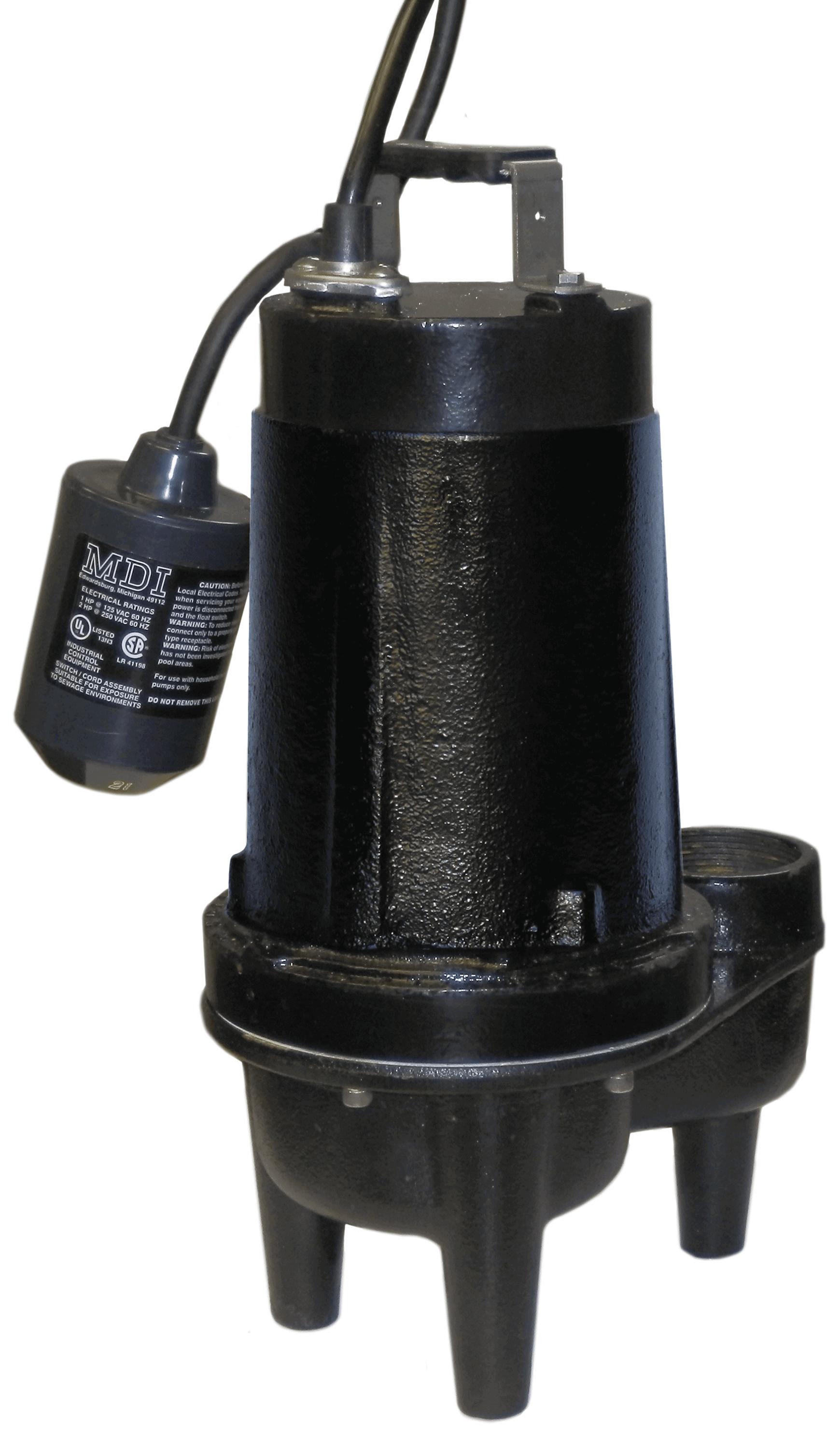 Champion Sewage Pump - 1/2 HP - 115 VAC - 20 foot cord - 109 GPM - 25 foot  Head w/ Float Switch